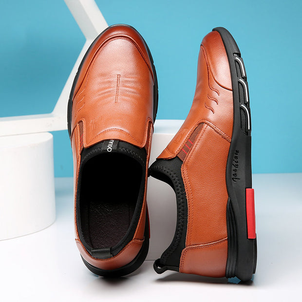 Men Comfy Round Toe Soft Sole Business Casual Leather Loafers