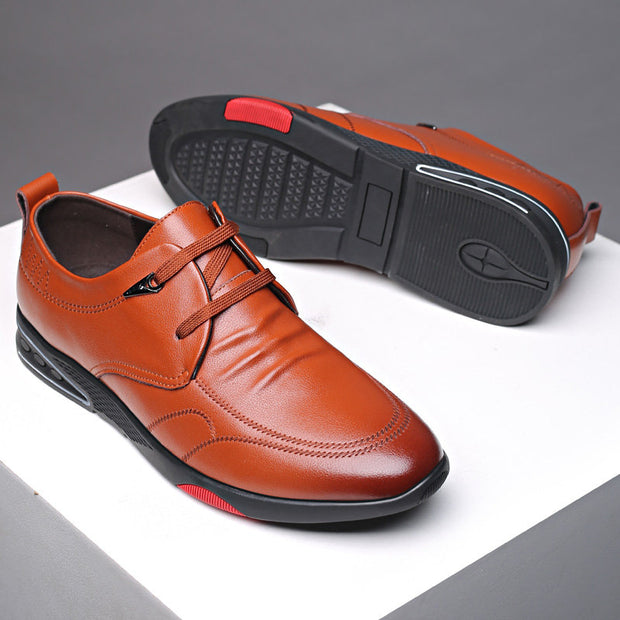 Men Cow Leather Non Slip Soft Sole Casual Driving Shoes