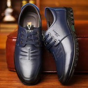 Men British Style Comfy Soft Lace Up Driving Leather Casual Shoes