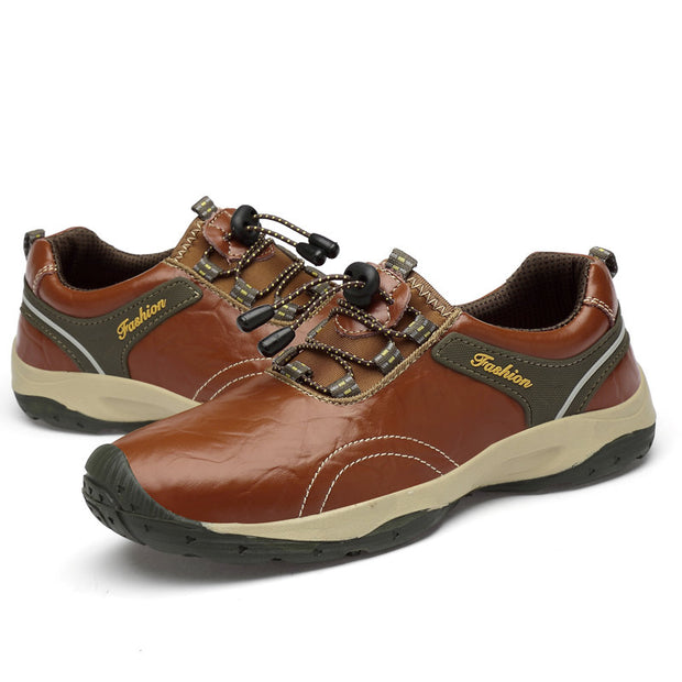 Men Outdoor Slip Resistant Lace Up Waterproof Leather Hiking Shoes