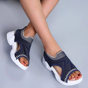 Women Low Heel Woven Mesh Sandals