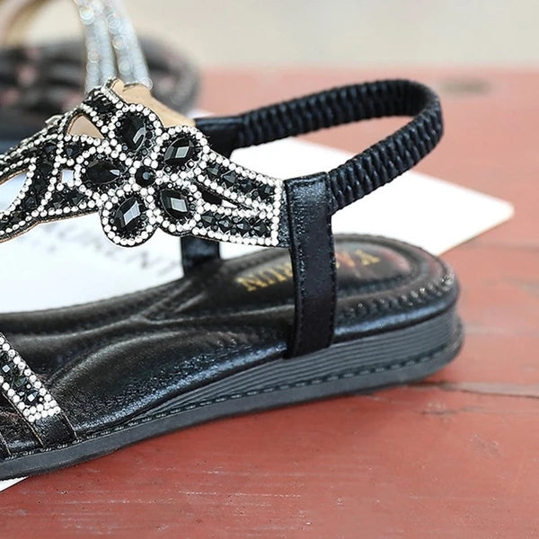 Women Crystal Slip-On Flat Heel Sandals T-Strap Boho Sandals