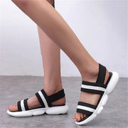 Women Flyknit Fabric Summer Flat Heel Sandals