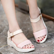 Women Casual Creeper Heel Sandals Pu Buckle Shoes