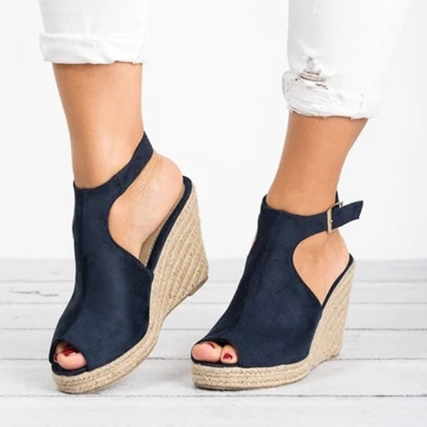 Women Faux Suede Wedge Heel Adjustable Buckle Sandals