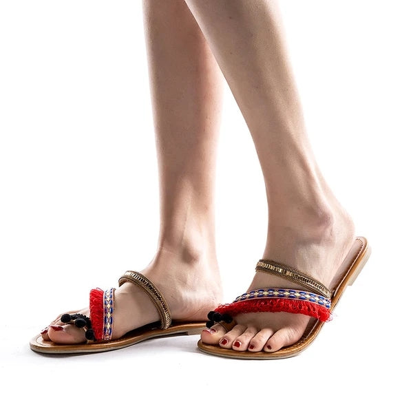 Women's Slippers Flat Heel Vintage Red Sandal