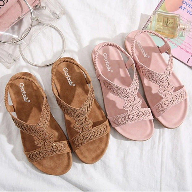 Women's Crystal Flat Heel Slip-On Rhinestone Sandals