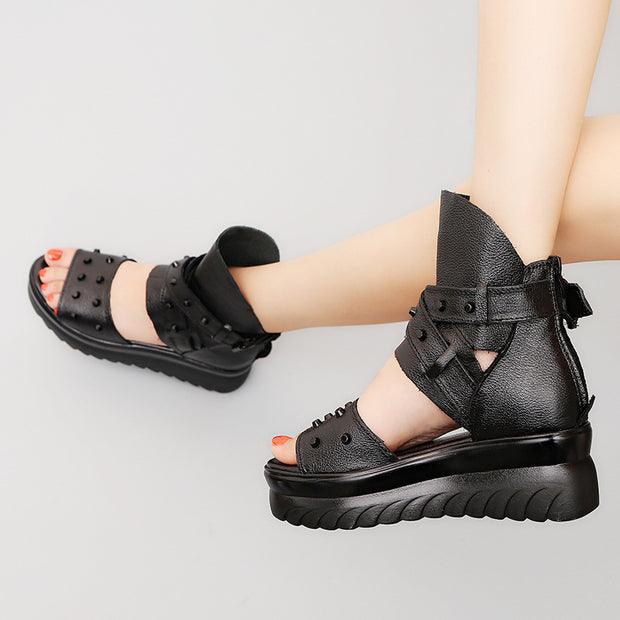 Women Platform Summer Adjustable Buckle Gladiator Sandals Open Toe Booties