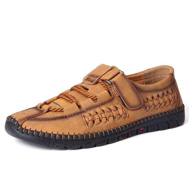 Men Woven Style Breathable Soft Non Slip Microfiber Leather Shoes