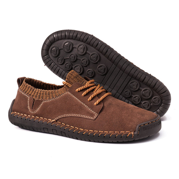 Men Hand Stitching Non Slip Suede Fabric Splicing Casual Shoes