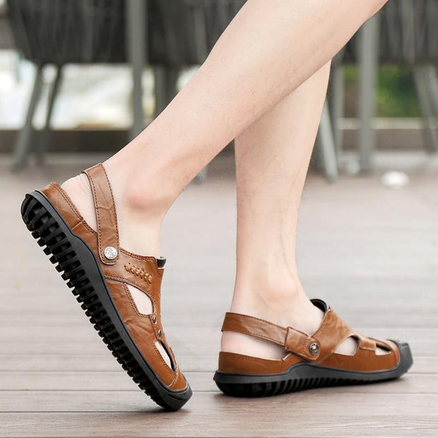 Men's sandals leather large size  casual sandals and slippers river shoes