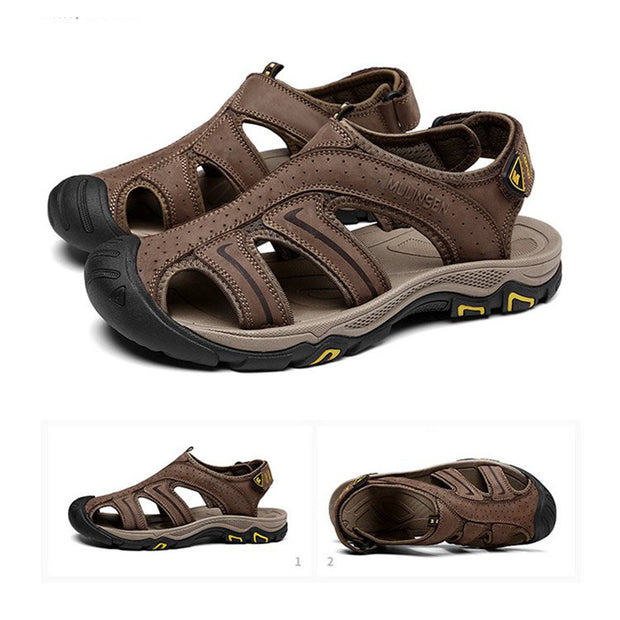 Men's beach shoes soft sole casual non-slip leather sandals