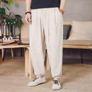 Mens Thin Cotton Linen Breathable Comfy Baggy Loose Vintage Casual Harem Pants