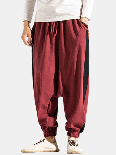Mens Autumn Casual National Style Print Solid Color Drawstring Loose Harem Pants
