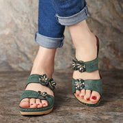 Women Breathable Flower Slippers Wedges Sandals