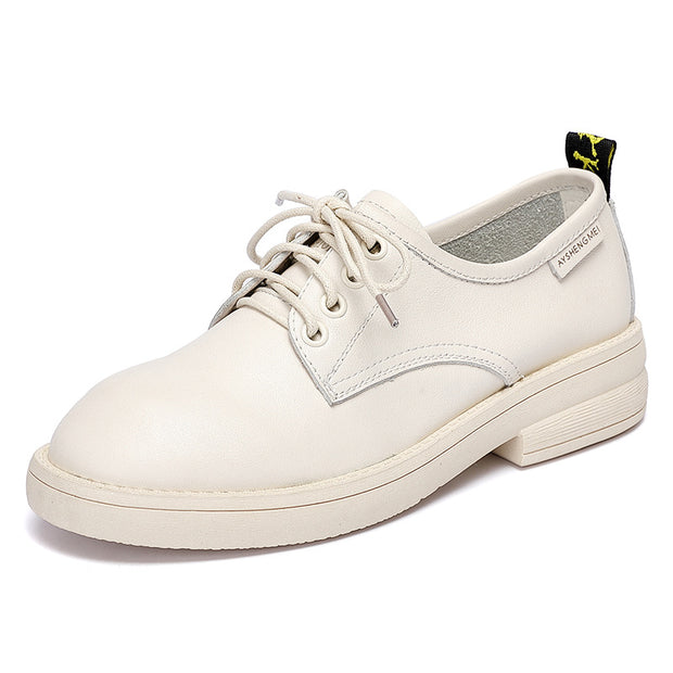 Women's lace up handmade retro soft leather flat shoes Oxford shoes