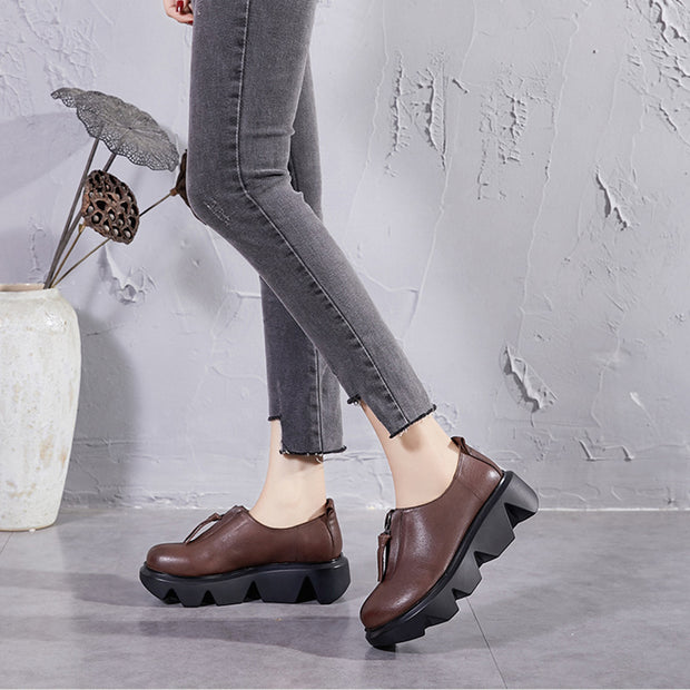Women's handmade retro soft leather thick bottom shoes
