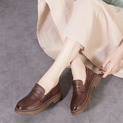Women's handmade retro soft leather flat shoes slip-on loafers
