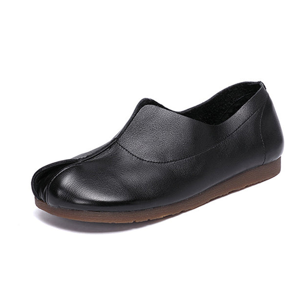 Women's handmade retro soft leather flat shoes slip-on
