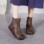 Women's handmade retro soft leather breathable leather low-heeled boots hollow flower