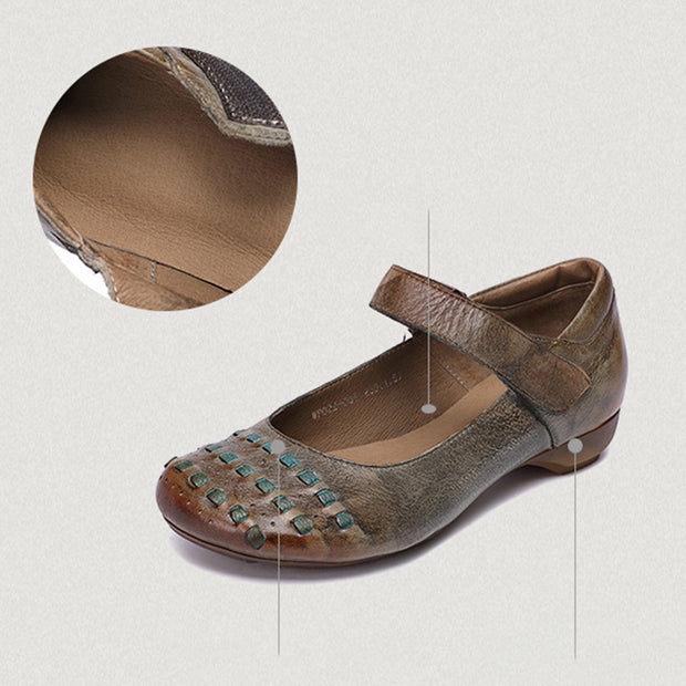 Women's handmade retro soft leather flat shoes Velcro shoes