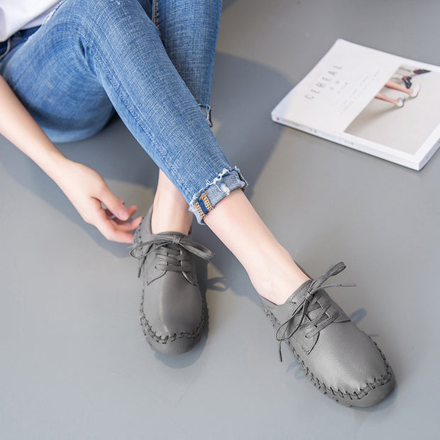 Women's lace up handmade retro soft leather flat shoes slip-on