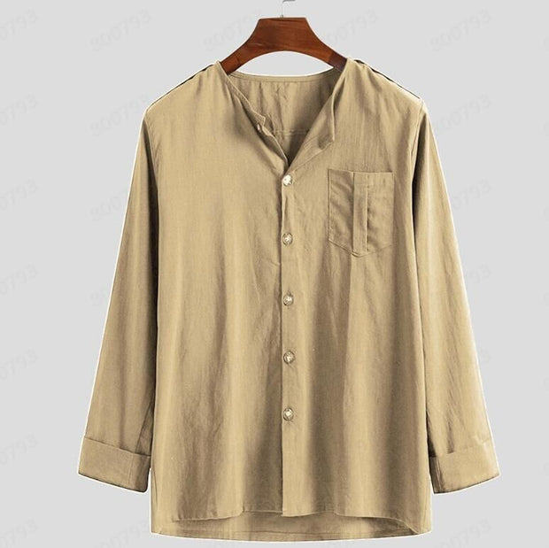 Men's long-sleeved linen shirt cardigan new button collar shirt