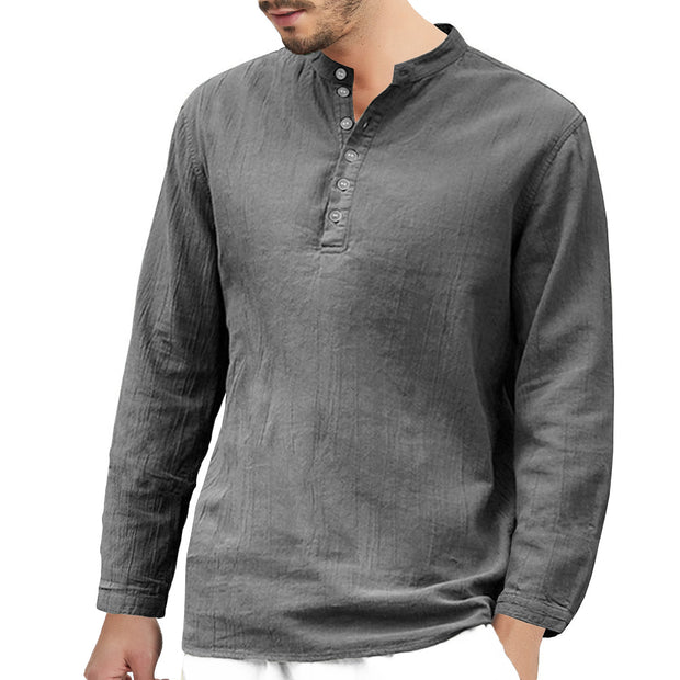 Man's long-sleeved cotton solid color casual shirts T-shirt