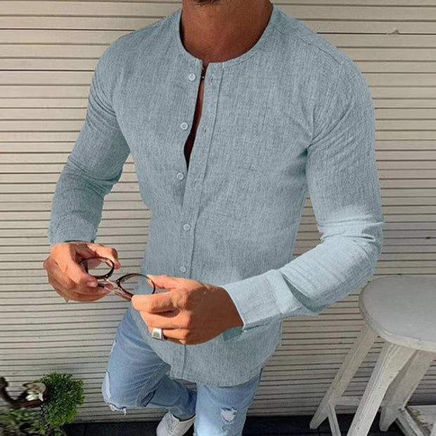 Men's round neck linen solid color Shirts