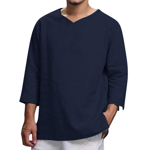 Men's loose cotton long-sleeved V-neck shirt