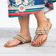 Women Casual Suede Scallop Flip Flops Buckle Flat Sandals