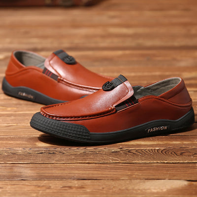Men Slip Resistant Collapsible Heel Slip On Casual Leather Shoes