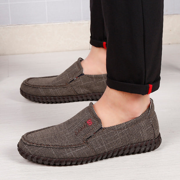 Men's  Fabric Hand Stitching Non Slip Breathable Slip On Casual Shoes