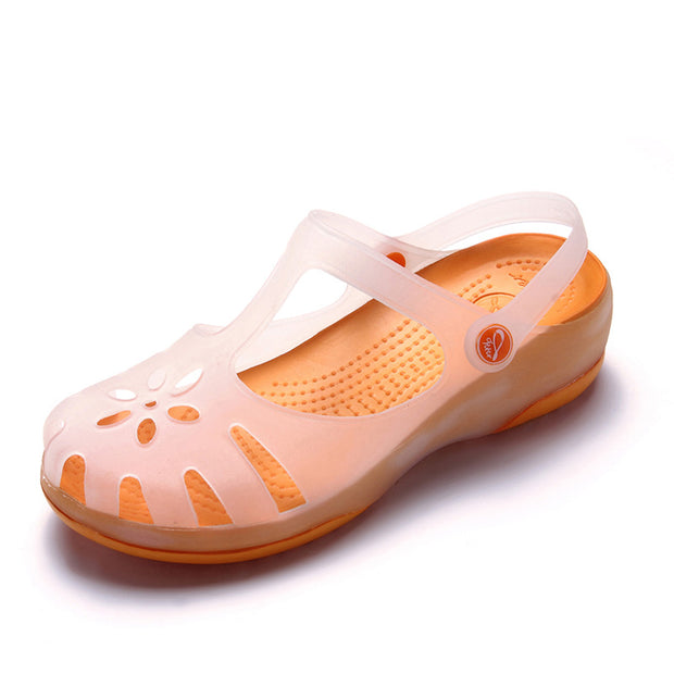 Women's Beach slippers two sandals women flat with thick bottom jelly women sandals color changing hole shoes