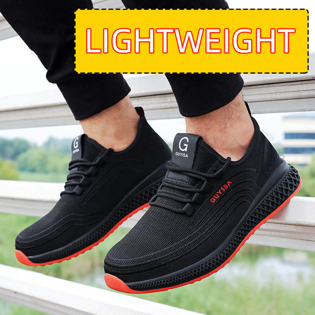Men's Steel Toe Cap Anti Smashing Slip Resistant Lace Up Work Safety Shoes
