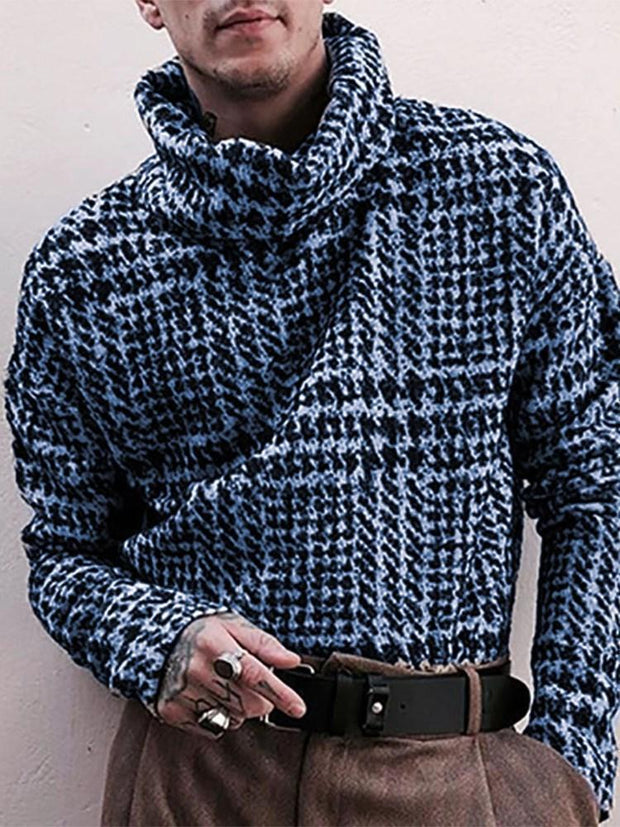 Men's Turtleneck Standard Color Block Winter Loose Sweater