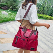 Women's Retro Waterproof Bag Solid Large Capacity Multi-Pocket Zipper HandBags