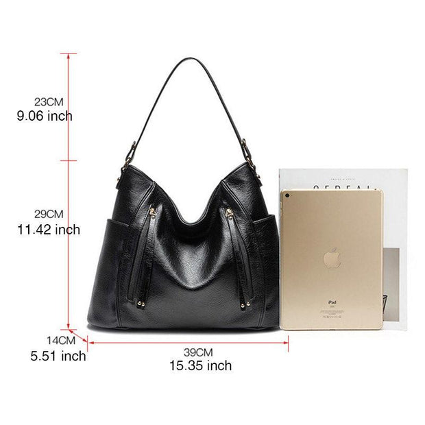 Women's Fashion Solid Tassel Large Capacity Multifunctional Zipper Handbags