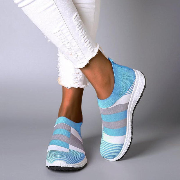 Women flyknit Comfortable Color Block Sneakers Slip-on Running Shoes