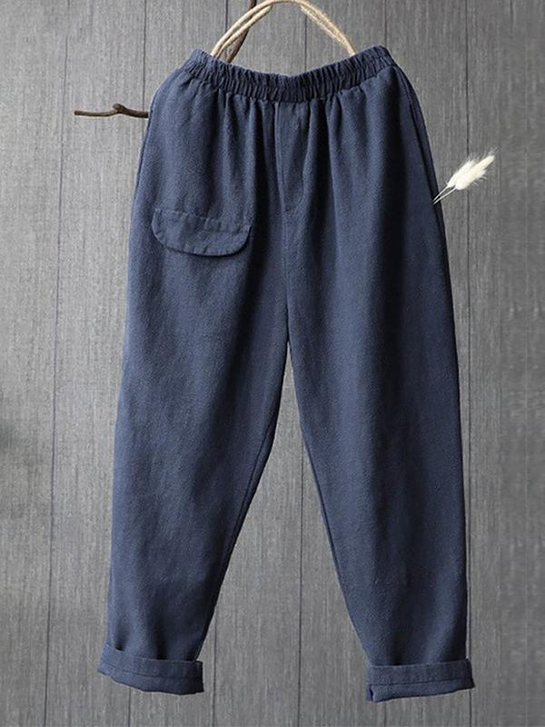 Women Fashion Linen Solid Casual Bottoms