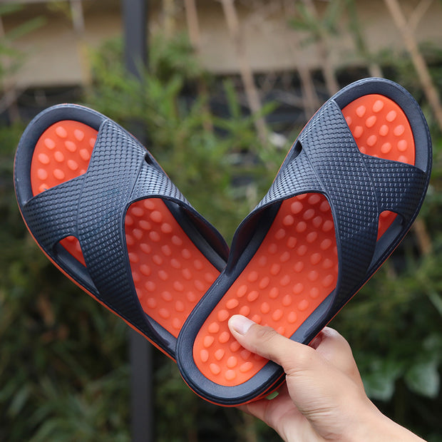 Men's Outdoor Slippers Anti-slippery Casual Flip Flops Beach Plus Size Massage Sandals