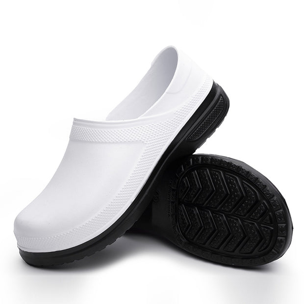 Men's Slip On Non-Slip Waterproof Safety Flats Round Toe Comfortable Garden Shoes Chef Shoes