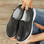 Women's Casual Sports Snake Skin Sequined Slip On Shoes