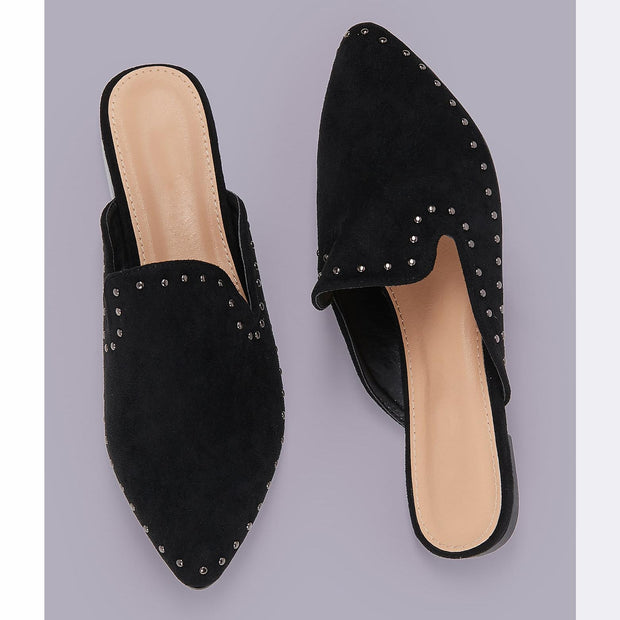 Women's Stud Detail Pointed Toe Flat Mules