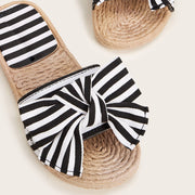 Women's Striped Bow Decor Open Toe Sliders