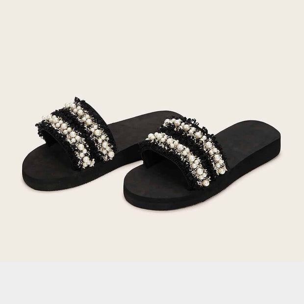Women's Faux Pearl Decor Tweed Flat Sliders