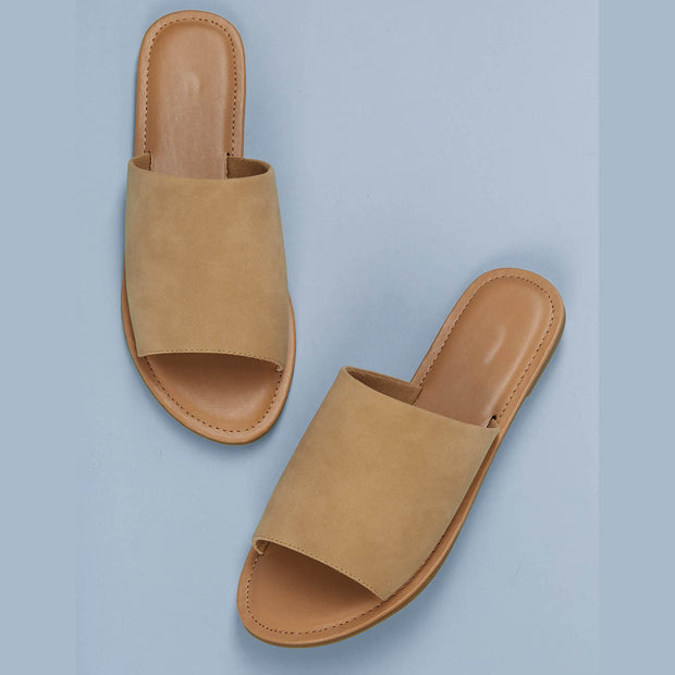 Women's Open Toe Wide Band Flat Slide Sandals