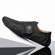 Men's  Hand Stitching Leather Hook Loop Soft Casual Shoes
