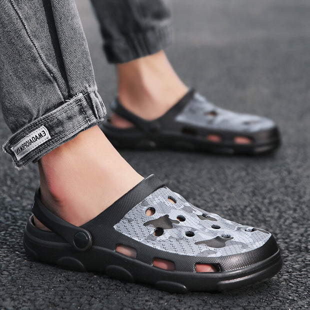 Men's Adjustable Heel Strap Hole Clog Beach Water Sandals