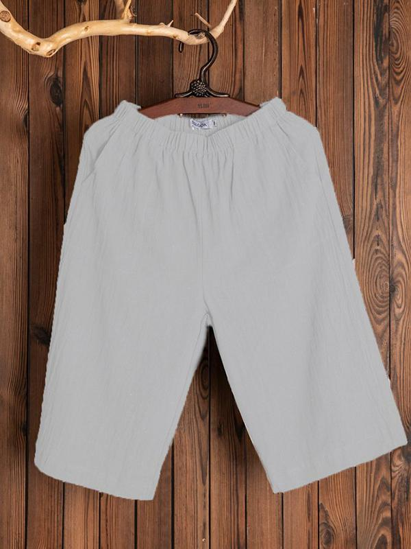 Women's Casual Solid Pockets Pants Middle Short Pants